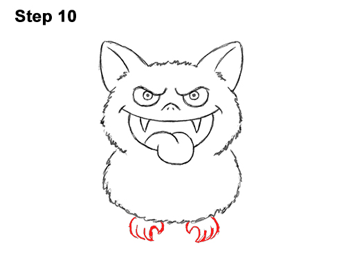 How to Draw Angry Funny Cute Halloween Cartoon Bat 10