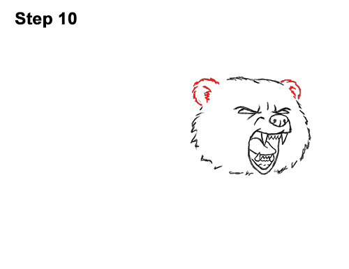 Draw Angry Mean Growling Roaring Cartoon Bear 10