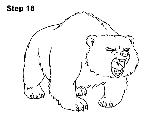Draw Angry Mean Growling Roaring Cartoon Bear 18