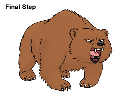 Draw Angry Mean Growling Roaring Cartoon Bear