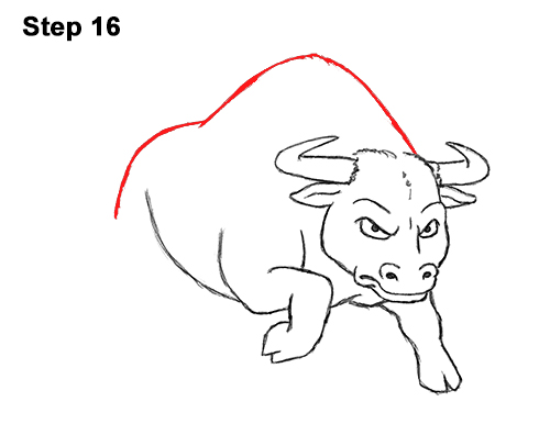 Draw Angry Mean Big Charging Cartoon Bull 16