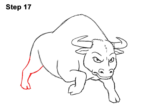 Draw Angry Mean Big Charging Cartoon Bull 17