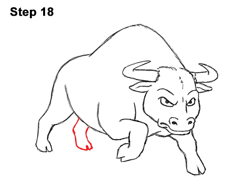 Draw Angry Mean Big Charging Cartoon Bull 18