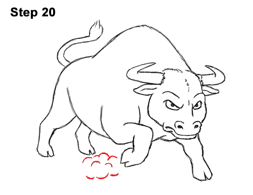 Draw Angry Mean Big Charging Cartoon Bull 20