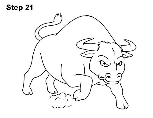 Draw Angry Mean Big Charging Cartoon Bull 21