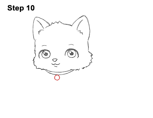 Draw White Cartoon Cat Kitten Kitty 10