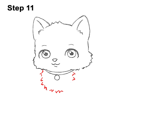 Draw White Cartoon Cat Kitten Kitty 111