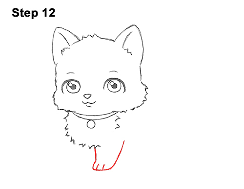 Draw White Cartoon Cat Kitten Kitty 12