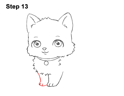 Draw White Cartoon Cat Kitten Kitty 13