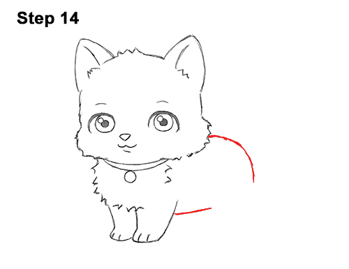 Draw White Cartoon Cat Kitten Kitty 14