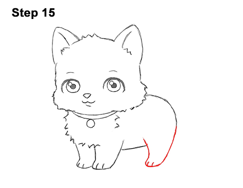 Draw White Cartoon Cat Kitten Kitty 15