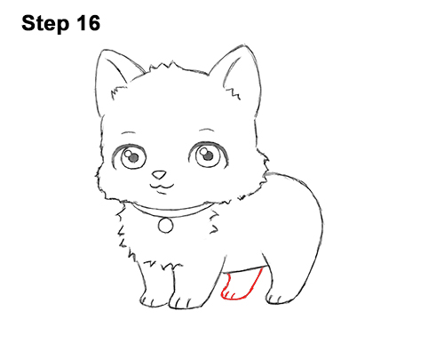 Draw white cartoon cat kitten kitty 16