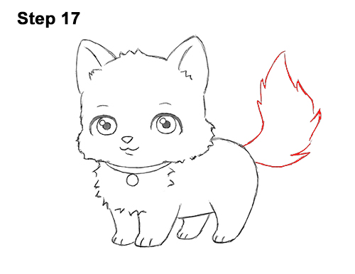 draw white cartoon cat kitten kitty 17