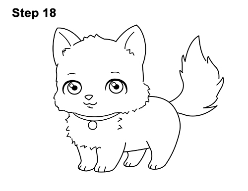 Draw White Cartoon Cat Kitten Kitty 18