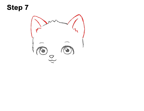 Draw White Cartoon Cat Kitten Kitty 7
