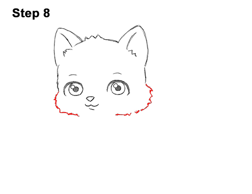 Draw White Cartoon Cat Kitten Kitty 8