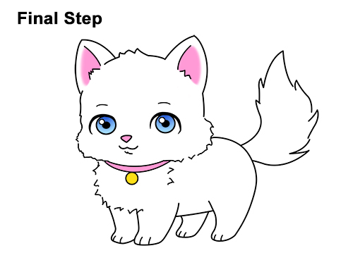 Draw white cartoon cat kitten kitty