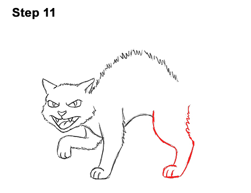How to Draw Angry Mean Halloween Cartoon Black Cat arched back 11