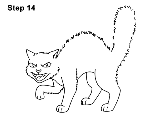How to Draw Angry Mean Halloween Cartoon Black Cat arched back 14