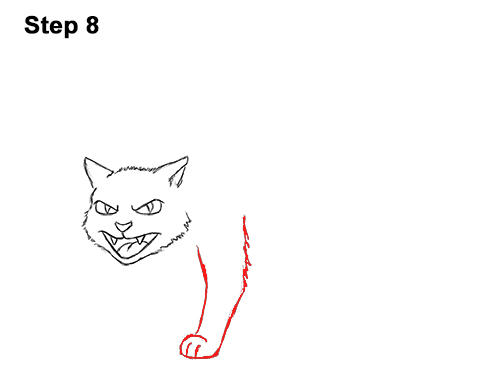 How to Draw Angry Mean Halloween Cartoon Black Cat arched back 8