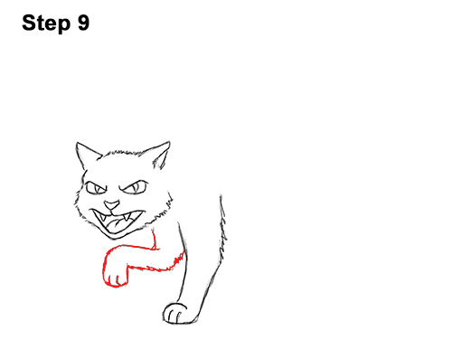 How to Draw Angry Mean Halloween Cartoon Black Cat arched back 9