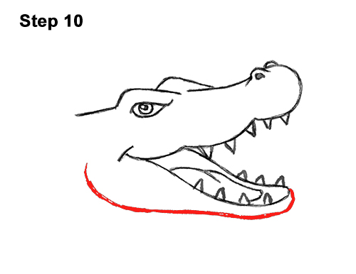 How to Draw Angry Cartoon Crocodile Alligator Smile 10