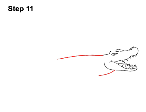 How to Draw Angry Cartoon Crocodile Alligator Smile 11