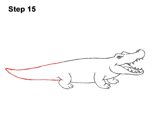 How to Draw Angry Cartoon Crocodile Alligator Smile 15