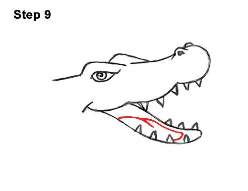 How to Draw Angry Cartoon Crocodile Alligator Smile 9
