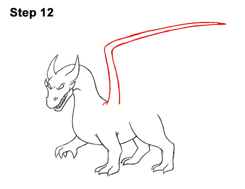 How to Draw Cool Angry Mean Cartoon Dragon 12