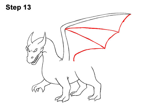 How to Draw Cool Angry Mean Cartoon Dragon 13