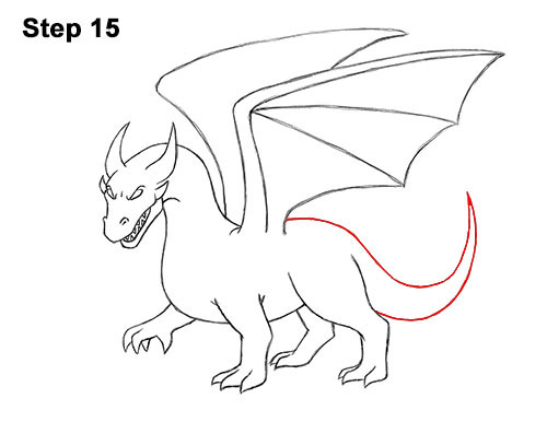 How to Draw Cool Angry Mean Cartoon Dragon 15