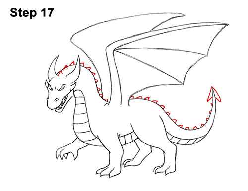 How to Draw Cool Angry Mean Cartoon Dragon 17