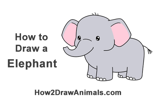 How to Draw Little Baby Small Cute Cartoon Elephant Chibi Manga