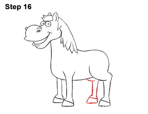 Draw Funny Goofy Cartoon Horse 16