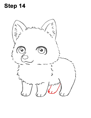 How to Draw a Cute Chibi Little Mini Cartoon Husky Puppy Dog 14