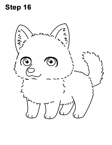 How to draw a cute chibi little mini cartoon husky puppy dog 16