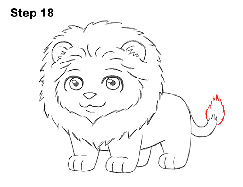 draw cute cartoon lion chibi little mini 18