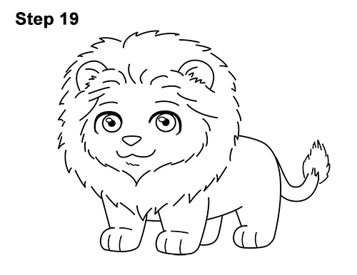 draw cute cartoon lion chibi little mini 19