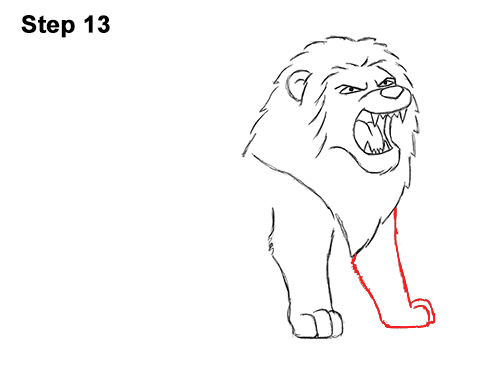 How to Draw Tough Cool Angry Cartoon Lion Roaring 13