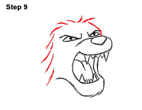 How to Draw Tough Cool Angry Cartoon Lion Roaring 9