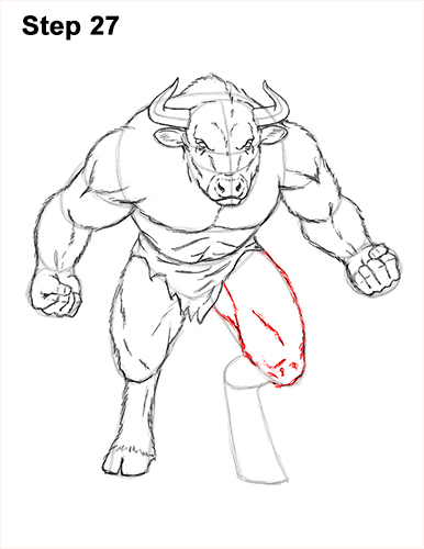 How to Draw Cool Angry Minotaur Bull Horns 27
