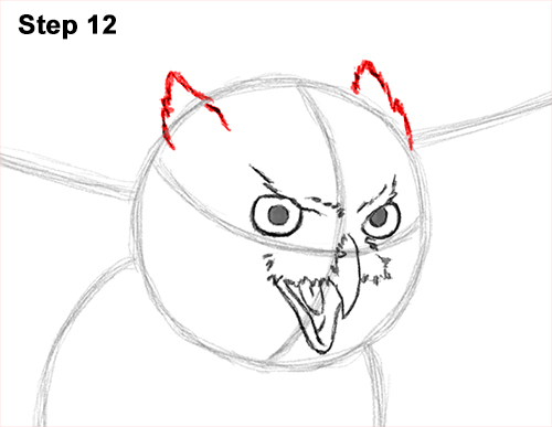 How to Draw a Great Horned Owl Flying Hunting Wings 12