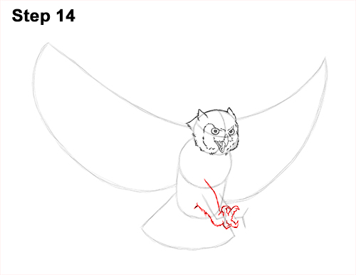 How to Draw a Great Horned Owl Flying Hunting Wings 14