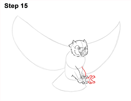 How to Draw a Great Horned Owl Flying Hunting Wings 15