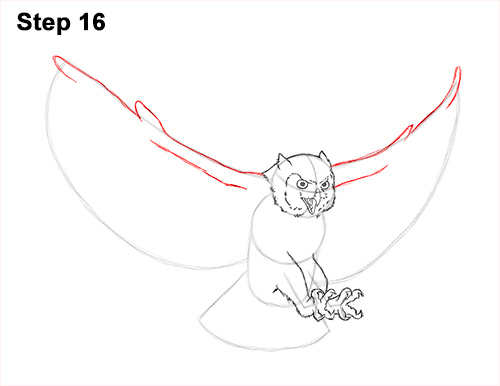 How to Draw a Great Horned Owl Flying Hunting Wings 16