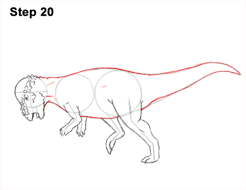 How to Draw Running Charging Pachycephalosaurus Dinosaur 20