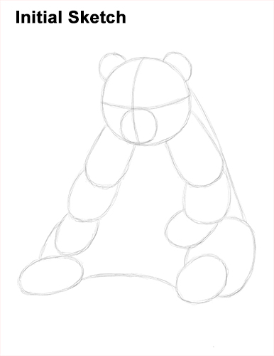 How To Draw Cute Giant Panda Bear Sitting Initial Sketch