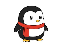 How to Draw a Cute Cartoon Penguin Scarf