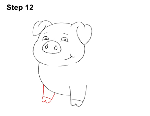 How to Draw a Cute Little Mini Funny Cartoon Pig Piglet 12